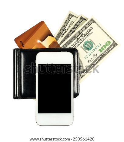 Smartphone lying on the purse with United States dollars and credit card, isolated on a white background - stock photo
