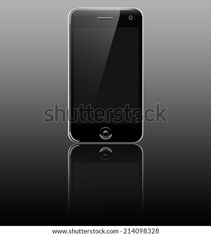 Smartphone (mobile phone) on reflective table - stock photo
