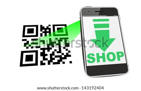smartphone mobile shopping QR code - stock photo