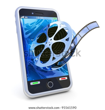 Smartphone mobile video isolated on white - stock photo