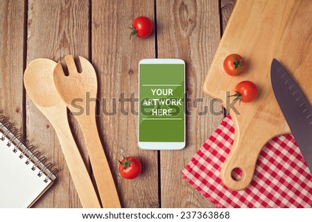 Smartphone mock up template for cooking apps display - stock photo