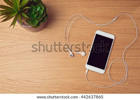 Smartphone mock up template for  music app presentation. View from above - stock photo