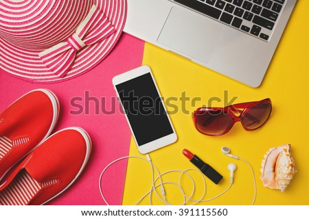 Smartphone mock up template for summer holiday vacation. View from above. Flat lay - stock photo
