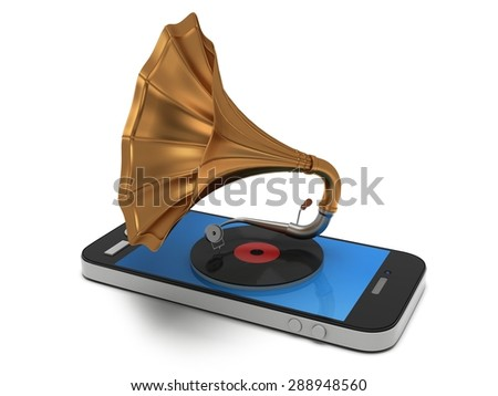 Smartphone music. Old vintage gramophone with vinyl record in mobile phone. Mobile apps concept. 3D render isolated on white background - stock photo