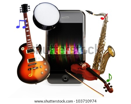 Smartphone music, various instruments coming from a smartphone concept on a white background. - stock photo