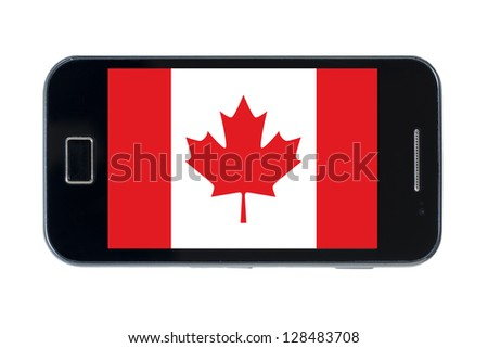 smartphone national flag of canada on white - stock photo