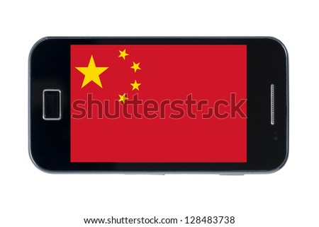 smartphone national flag of china on white - stock photo