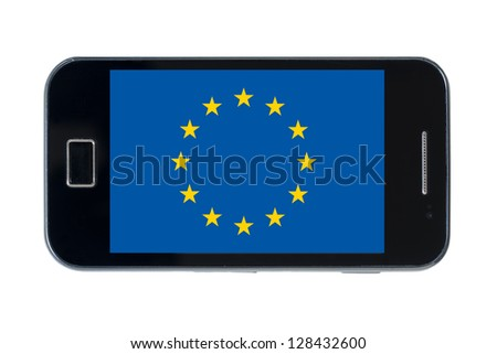 smartphone national flag of europe on white - stock photo