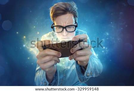 Smartphone Nerd - stock photo