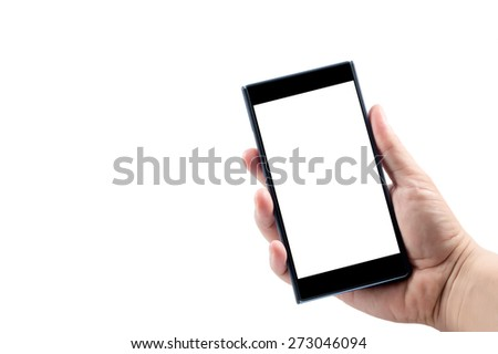 Smartphone on the hand isolated on white background - stock photo