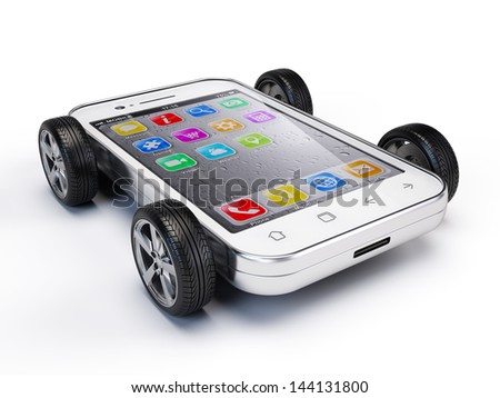 Smartphone on wheels - stock photo