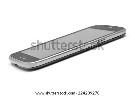 smartphone on white slim side view - stock photo