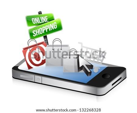 smartphone online shopping concept illustration design over white - stock photo