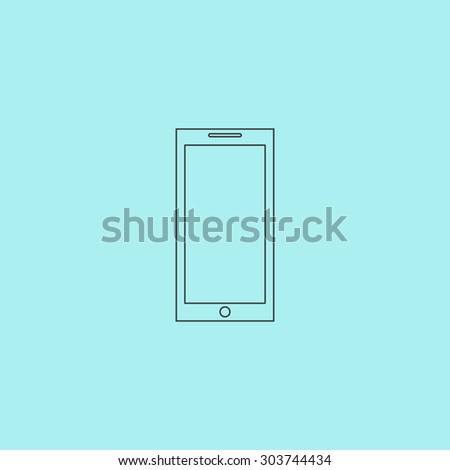 Smartphone. Outline simple flat icon isolated on blue background