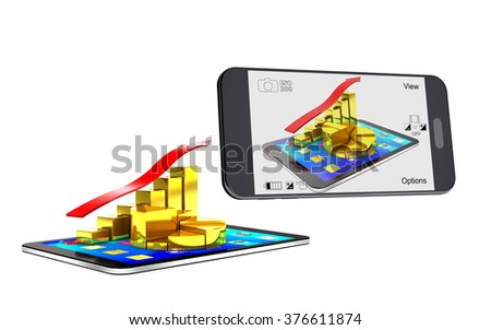 Smartphone photographing the tablet and a chart of the gold bars and the red arrow. - stock photo
