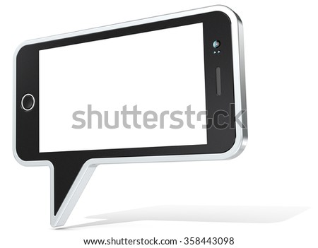 Smartphone plus Speech Bubble. Speech Bubble with Smartphone design elements. Non branded Generic Design. Blank for Copy Space.  - stock photo