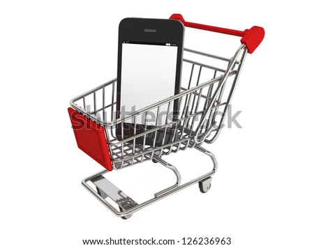 Smartphone purchase concept. Smartphone and a shopping cart on a white background