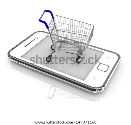 Smartphone purchase concept. Smartphone and a shopping cart on a white background - stock photo