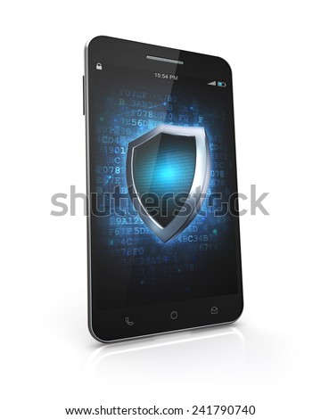 smartphone security screen isolated white background with clipping path - stock photo