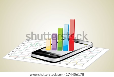 smartphone showing a spreadsheet with some 3d charts over it - stock photo