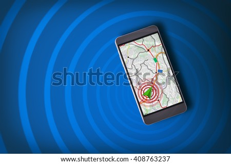 Smartphone showing on the screen an assistant GPS navigation with blue background and waves