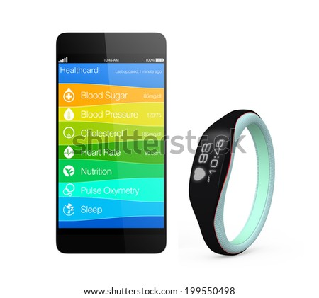 Smartphone synchronizing health information app from smart wristband - stock photo