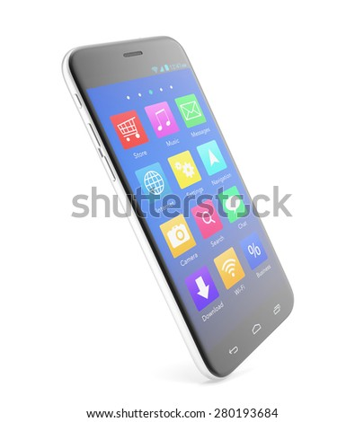 Smartphone touchscreen phone with applications on the screen, isolated on a white background with shadows. 3d illustration High resolution