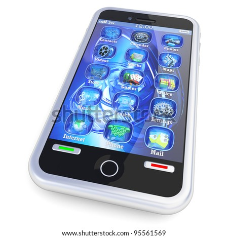 Smartphone touchscreen with 3d applications isolated on white - stock photo
