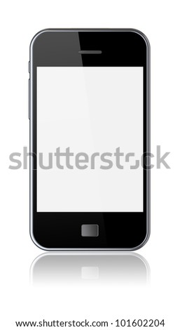 Smartphone with a blank screen. Isolated on a white. 3d image - stock photo