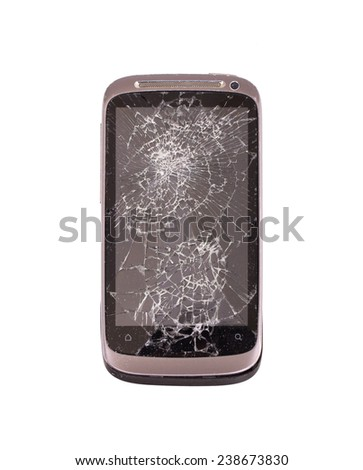 Smartphone with a broken screen, isolated on white - stock photo