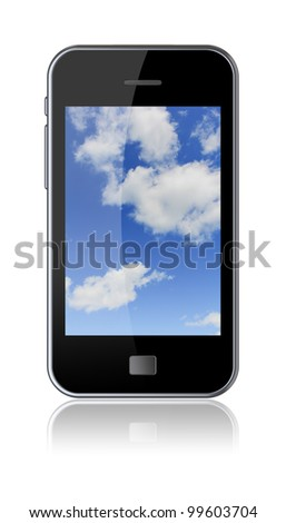 Smartphone with a cloudy sky on the screen. 3d image