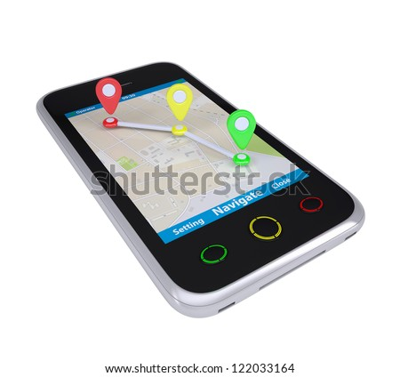 Smartphone with a map marked with the waypoints. Isolated render on a white background