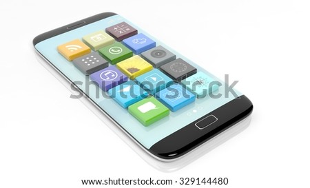 Smartphone with apps in shape of a beveled square, isolated on white background.