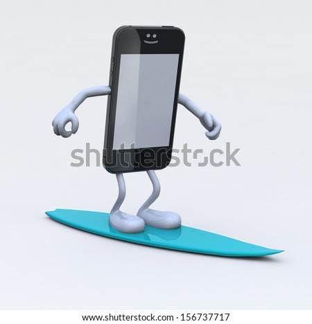 smartphone with arms and legs on surfboard, 3d illustration