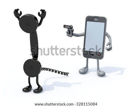 smartphone with arms and legs wielding gun to the vintage phone handset, 3d illustration - stock photo