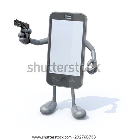 smartphone with arms legs and gun on hand, 3d illustration - stock photo