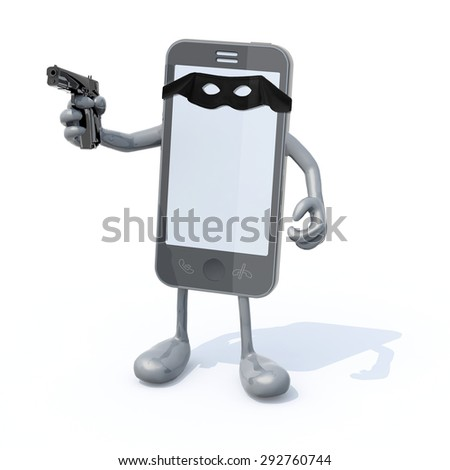 smartphone with arms legs gun on hand and bandit mask on sreen, 3d illustration - stock photo
