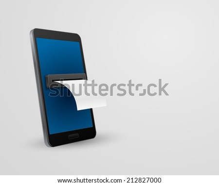 smartphone with bill check concept 3d - stock photo