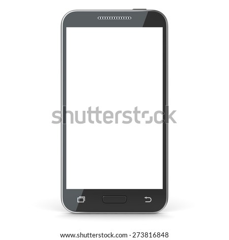 Smartphone with blank screen. 3d render and computer generated image. isolated on white. - stock photo