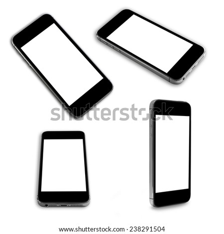 Smartphone with blank screen in several positions and angles, isolated on white background. - stock photo