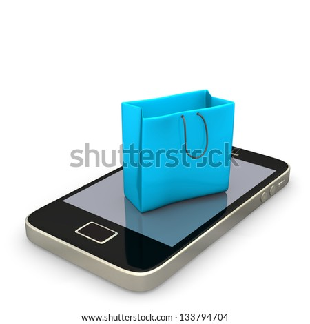 Smartphone with blue shopping bag on the white background. - stock photo