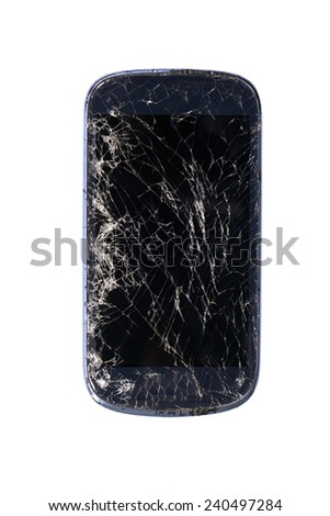 smartphone with broken screen isolated on white background.