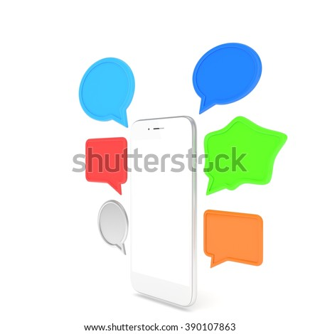 smartphone with bubbles isolated on white background
