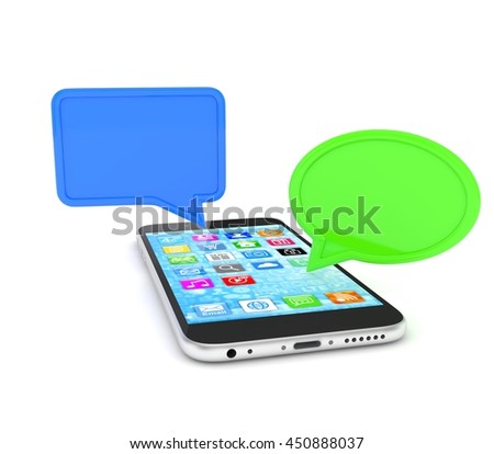 smartphone with bubbles isolated on white background. 3d rendering.