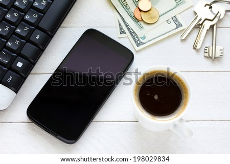 Smartphone with coffee on wooden table