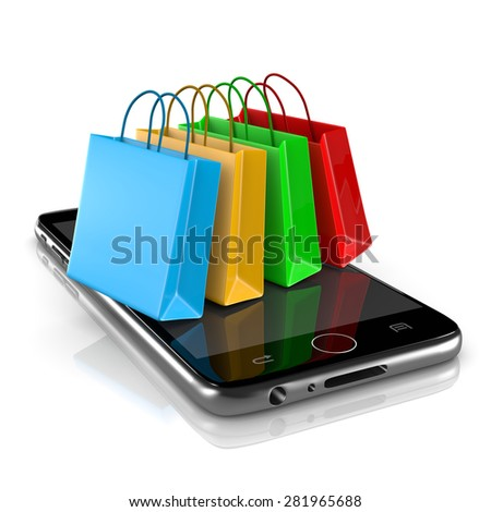Smartphone with Colorful Shopping Bags on White Background 3D Illustration, Online Shopping Concept - stock photo