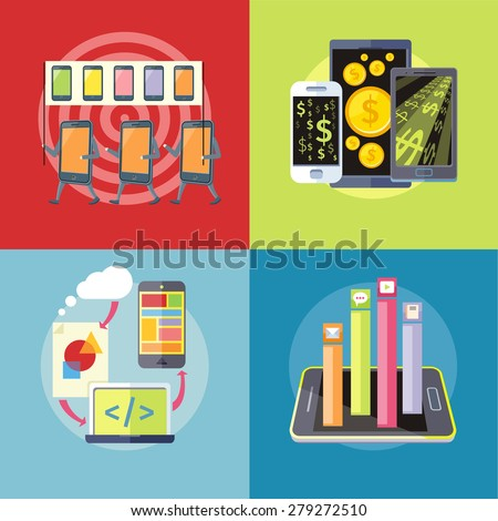 Smartphone with columns rated mobile applications. Top Apps mobile applications. Icon smartphones with placards and slogans. Dollar money phone concept.  Mobile application development. Raster version - stock photo