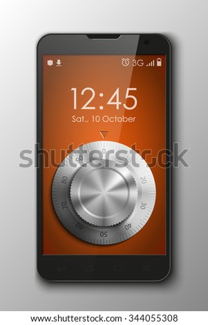 Smartphone with Combination Lock , mobile phone isolated, realistic illustration.