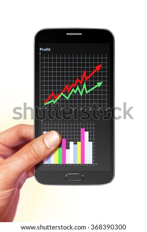 smartphone with diagram of profit on screen in hand - stock photo