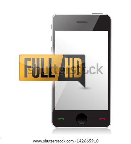smartphone with Full HD. High definition button. illustration design - stock photo